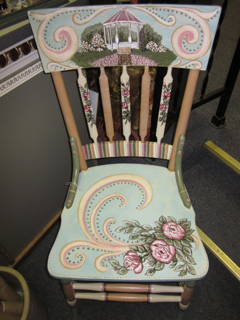 Refurbished Hand painted chair by Cherie at Studio 213.