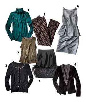 10 outfits 7 pieces: Parties Outfits, 10 Outfits, 10 Parties, Party Outfits, Outfits Ideas, Silk Blouses, Velvet Jackets, Holidays Clothing, Bananas Republic