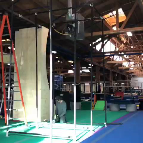 Hard at work building our exciting new KLUB NINJA apparatus! FUN FACT: On the system we have a 12 ft warped wall, salmon ladder, monkey bars, and a pipe system for hanging obstacles! Coming soon to the wall is a rock climbing course! Great work Koach Mayo!!  ⠀⠀⠀⠀ #klubninja #strength #selfesteem #success #theklubgymnastics #Klubgymnastics #theklubgym #theklub #klubgym #tkg #gymnastics https://video.buffer.com/v/5a6262a770e7919228431c5a