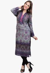 Admyrin Grey Printed Kurta Online Shopping Store