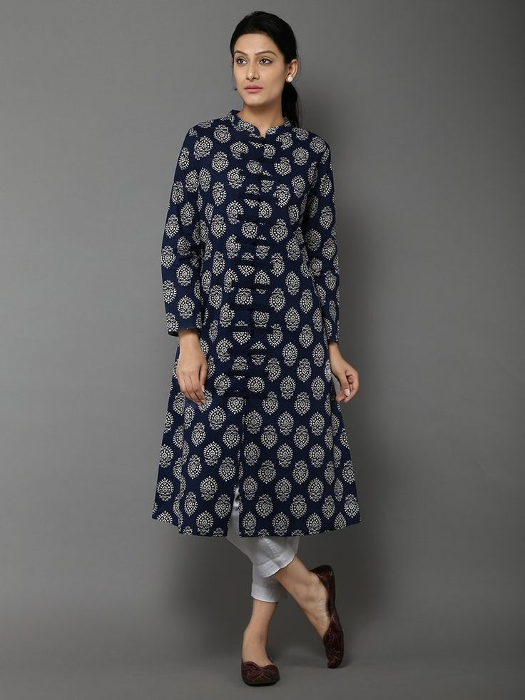 Navy Blue Off White Cotton Kurta by the Wooden Closet