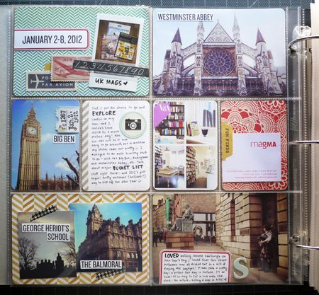She PL'er labels photo's...I don't think I'd like to do all, but great idea for eclectic pages (potpourri's of travel:)
