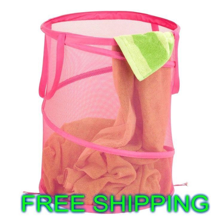 Laundry Hamper Pop Open Handles Storage Clothes Large Pink Organizer Bath NEW #HoneyCanDo