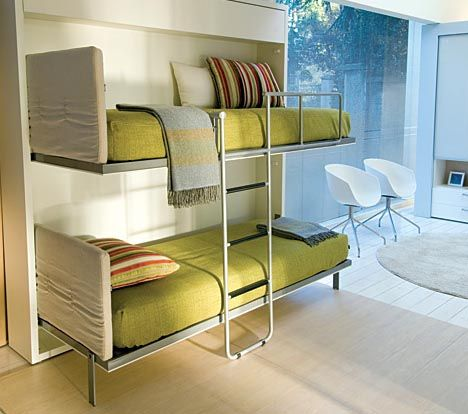 Fold down wall beds 4 beds in a room pinterest - Bunk beds that fold into wall ...