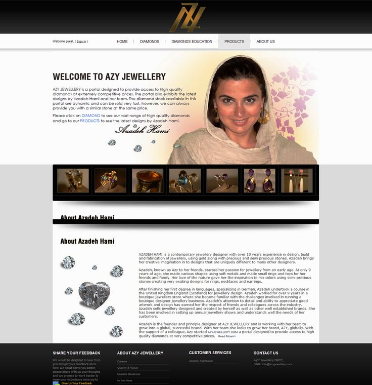 Take a look at one of our latest projects - .NET site with product (diamond) gallery/showcase for AZY JEWELLERY http://azyjewellery.com/ Get your website designed and developed by us within an affordable cost margin. Call us now >> +91-99-3344-5500 or sales@itsinindia.com ‪#‎websitedesign‬ ‪#‎webdevelopment‬