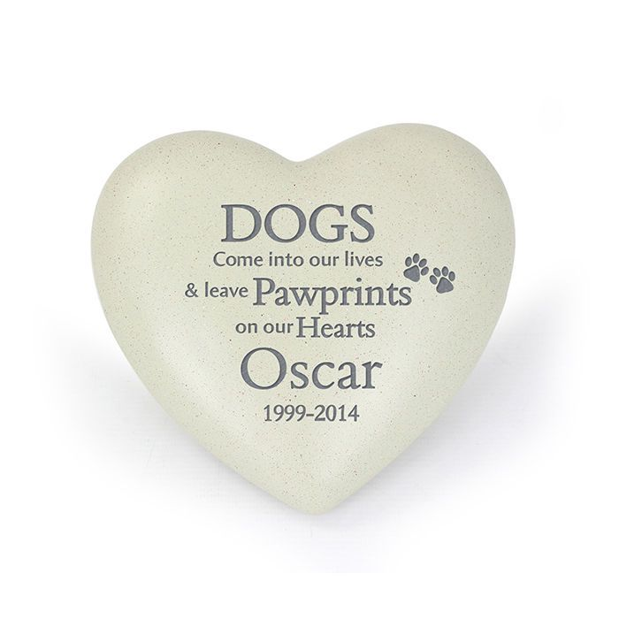 Dog Memorial Remembrance Personalised Dog Pawprints Heart Pet Grave Marker