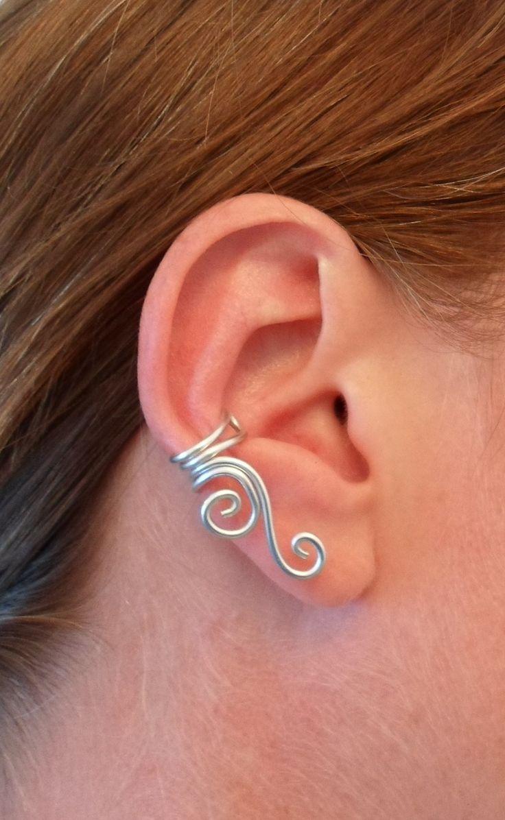 Bague oreille (ear cuff) double spirale en aluminium noir et rose : Boucles d'oreille par lumi-air-creations