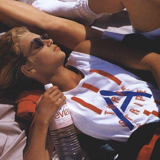 Evian x Adidas for Vogue, 1987 #PoolsideFM #80s #Fashion #Vintage #Vogue #PoolsideBlondes