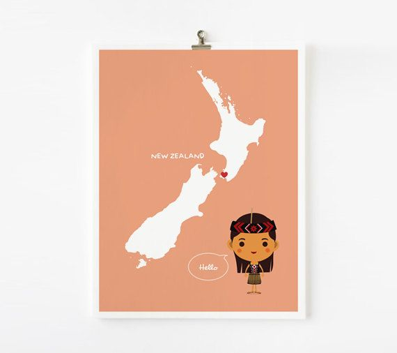 Personalized Children Decor Custom New Zealand Map by loopzart. $18.00, via Etsy.