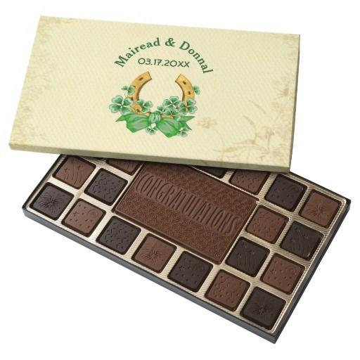 Shamrocks and Gold Irish Wedding - Customize 45 Piece Assorted Chocolate Box. Customize text.