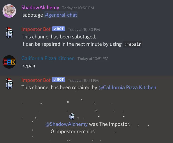You Can Now Sabotage Discord Channels Using Impostor Bot Full Credits To U Cpk G Discord Channels Discord Play Online