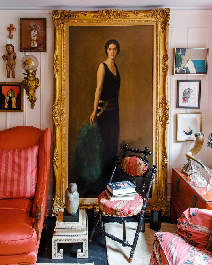 A portrait of Gloria Vanderbilt's mother, Gloria Morgan Vanderbilt was painted by Dana Pond in 1923. Top right, a portrait of Gloria Vanderbilt by Mac Conner, the American illustrator and commercial artist. (Photo: Ike Edeani for The New York Times)