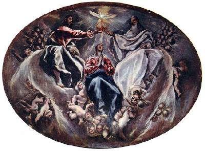 The Coronation of the Virgin - El Greco.  1603-05.  Oil on canvas.  163 x 220 cm.  Hospital de la Caridad de Illescas, Illescas, Spain.