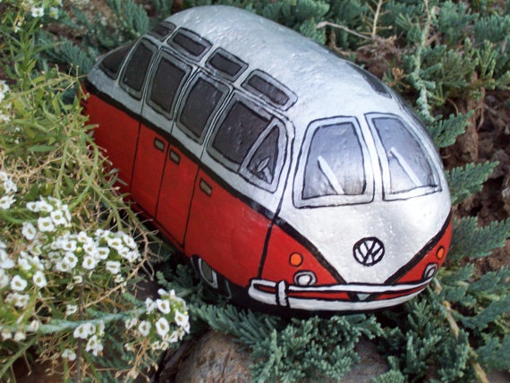 Pearl White and Orange VW Volkswagen Bus Painted River Rock Sue this reminds me of you!