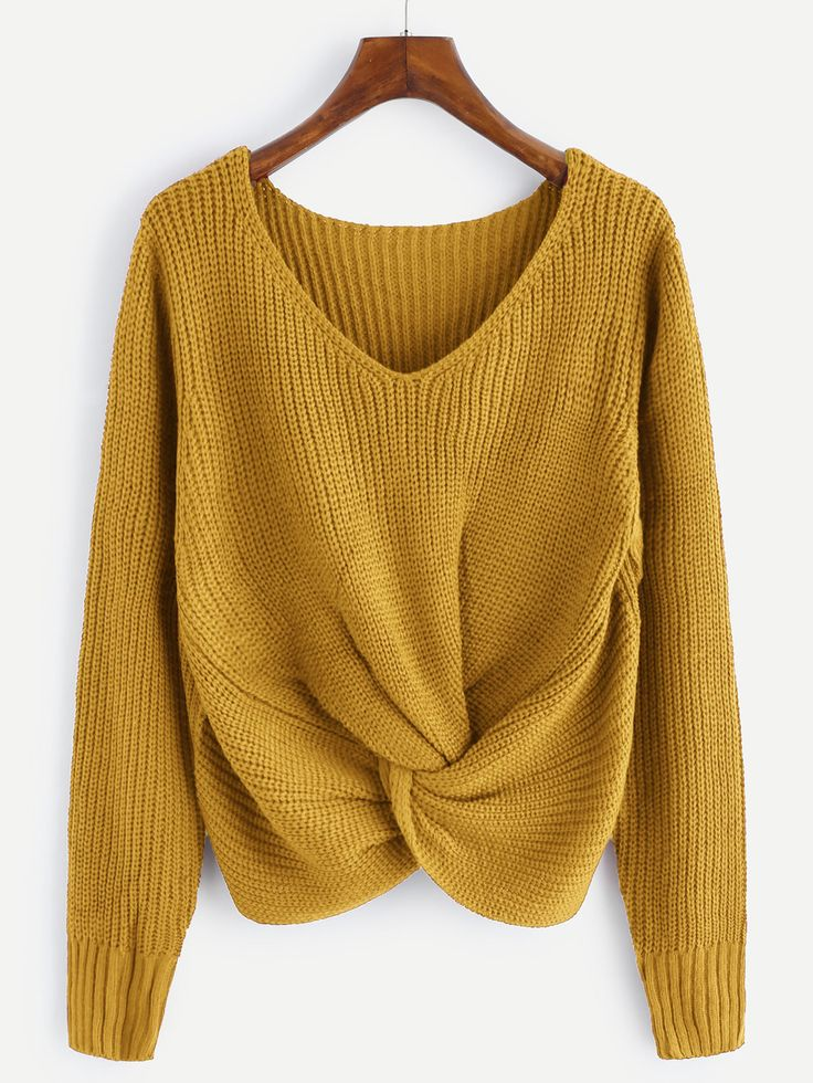 V-neckline Twist Front Chunky Knit Sweater from SheIn for $20 {this is an affiliate link}