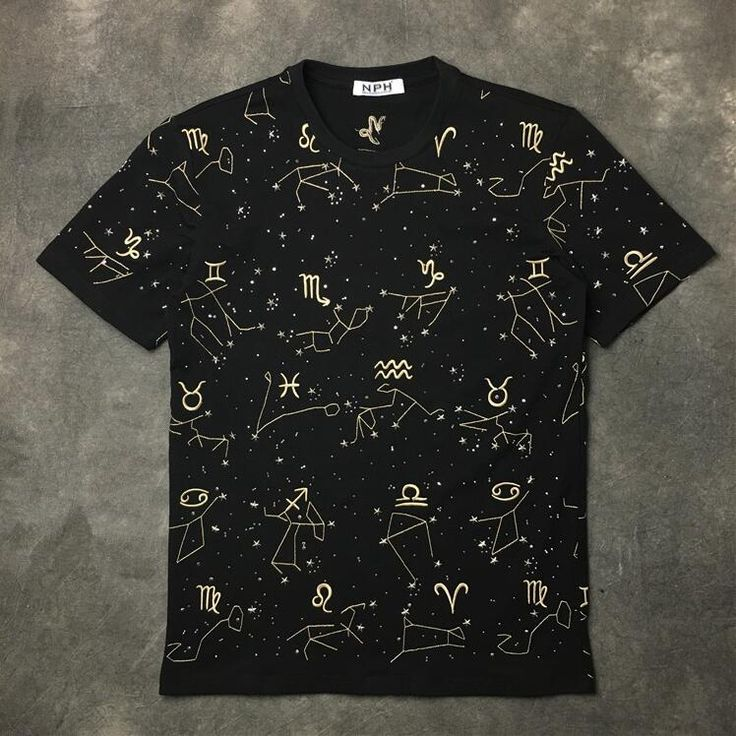 New High 2017 Men Embroidery 12 constellation T Shirts kanye T-Shirt Hip Hop Skateboard Street Cotton T-Shirts Tee Top Top #B51