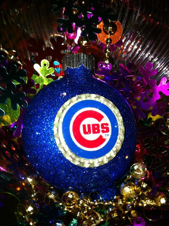 CHICAGO CUBS Glass Painted Glitter Resin CHRISTMAS by evago, $9.99