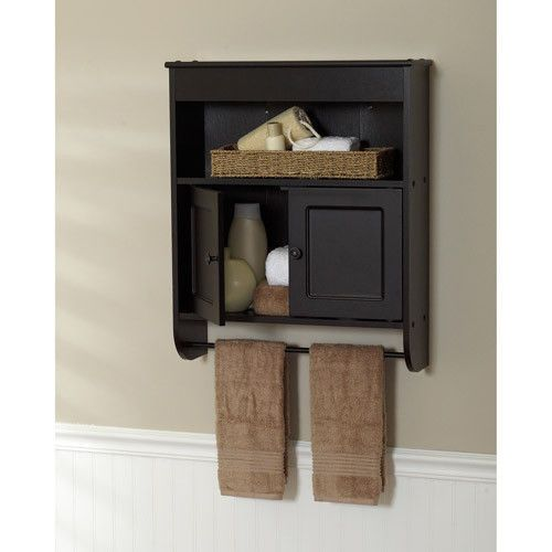 New espresso bathroom wall cabinet storage with towel rack - Bathroom wall cabinet with towel bar ...