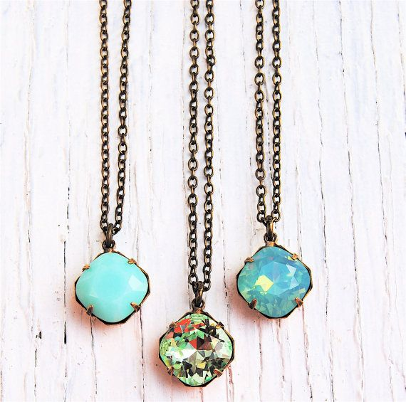 YOU HAVE TO CHECK OUT THIS AWESOME ETSY STORE! I want everything from here! all of it!         Mint Necklace Green Small Pendant Necklace Bridesmaid by MASHUGANA, $22.50
