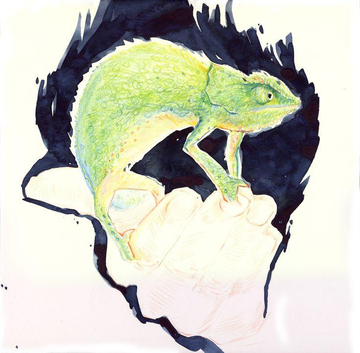 """""""inner animal - inner chameleon"""", pencil & watercolour"""