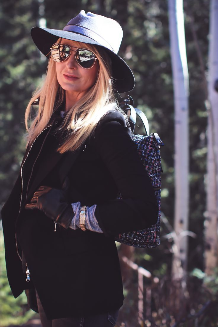 Styling Hats for women for fall and winter, featuring a Henri Bendel felt hat, paired with a jetsetter tweed backpack, veronica beard blazer with leather dickey and amo twist jeans with vince camuto patent booties on fashion blogger over 4o from Busbee Style Erin Busbee