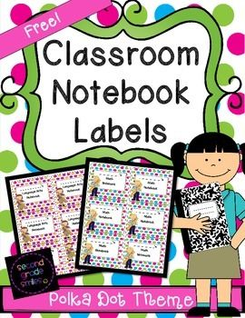 Free Classroom Notebook Labels in a Polka Dot Theme from Second Grade Smiles #labels #backtoschool #freebie