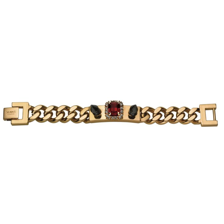 MAWI - PRETTY TOUGH / I.D. BRACELET WITH SPIKES AND CRYSTAL GEMS - I.D. bracelet with spikes and crystal gems, rose gold plated with red crystal.