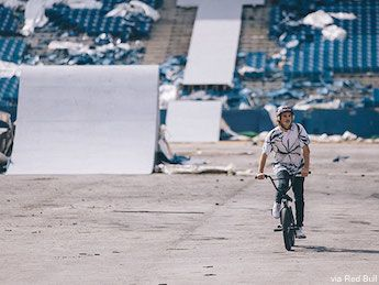 BMX Pro Tyler Fernengel Unleashes His Skills Inside Abandoned Silverdome