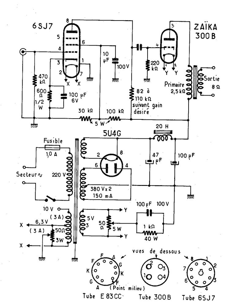 valve guitar amp circuit diagram
