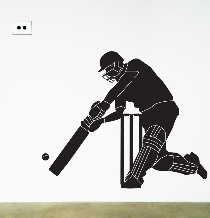 Cricketer Wall Sticker, Removable Decal by Moonface Studio. An easy wall to update a cricket fans walls. https://www.moonfacestudio.com.au/product-page/cricketer-wall-sticker #cricket #stumps #ashes #walldecor #wallstickers
