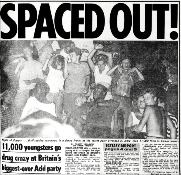 Controversial Acid House parties began in the late 80s and linked to the designer drug Ecstasy. This is a really interesting blog about the era.