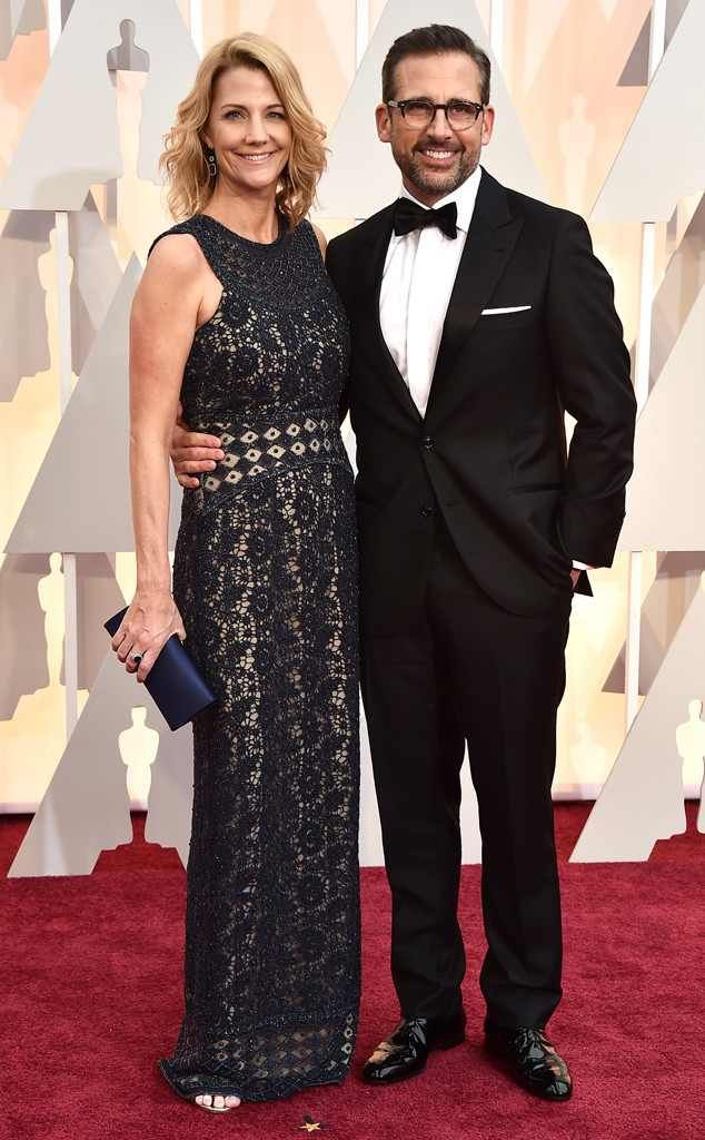 Nancy & Steve Carell from 2015 Oscars: Red Carpet Couples  All those years of her now Oscar-nominated hubby coming home late from The Office have finally paid off.