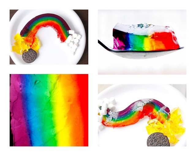 layers of different colored jello in a cake pan and let each one set, and add another color, then pop out and slice and use marshmallows for clouds and yellow yellow for gold and oreo cookie for pot.. kids will love it..