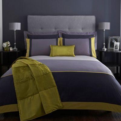 J by Jasper Conran Designer navy 'Maddox' bed linen- at Debenhams.com