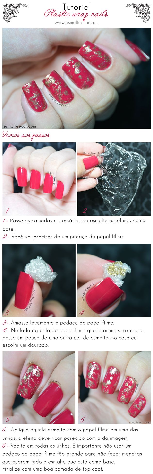 Unhas Decoradas Plastic Wrap Nails