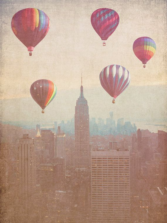 Vintage New York City - 8x10 photograph - Balloons over Midtown - fine art print - vintage photography - NYC art  - New York skyline. $25.00, via Etsy.