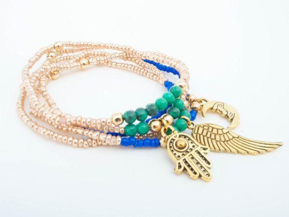 Friendship bracelet set Stretch bracelet stack Boho by Olive1990, €8.00