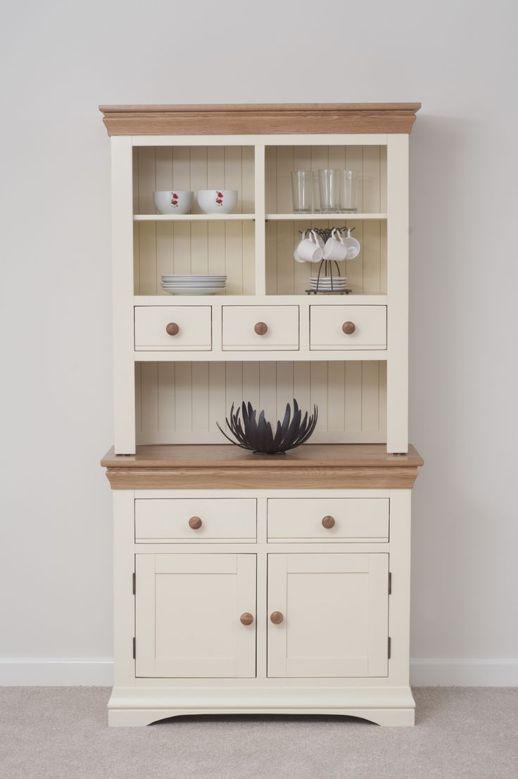 Country cottage painted funiture cabinet cream welsh dresser oak furniture land www Cream wooden furniture