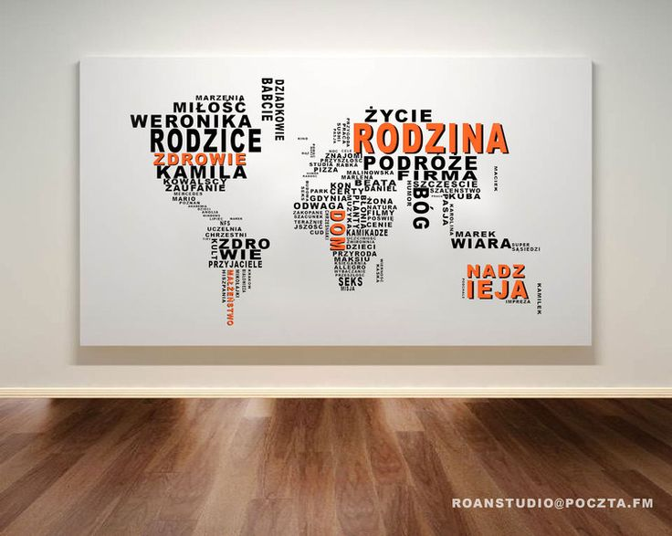Typograficzna Mapa Świata 100x60 druk na płótnie. w Roanstudio na DaWanda.com