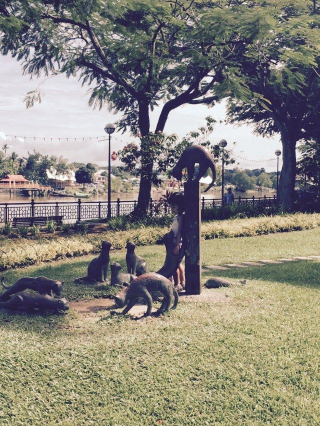 Stone cats at the Waterfront, Kuching. They almost look alive!