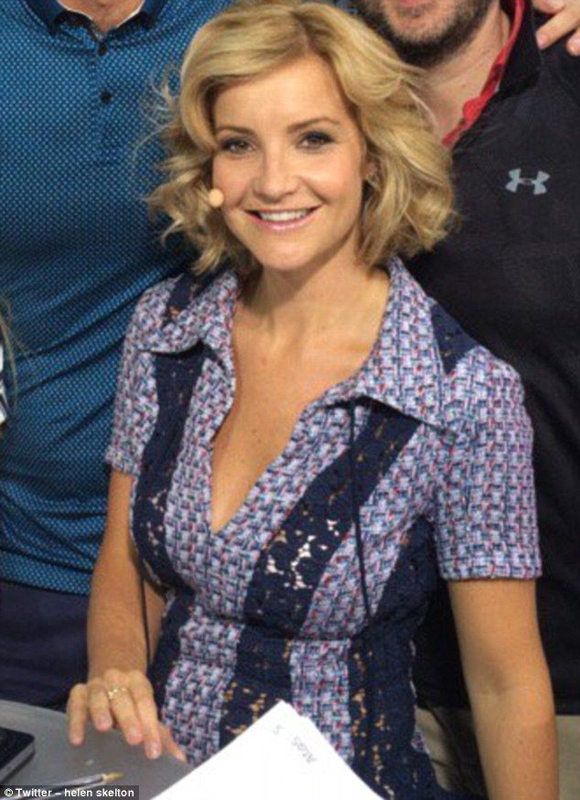 Helen Skelton, who is presenting the BBC 's coverage of the swimming, has attracted attention with her fashion-forward outfits - and this cleavage-baring number certainly got her fans talking