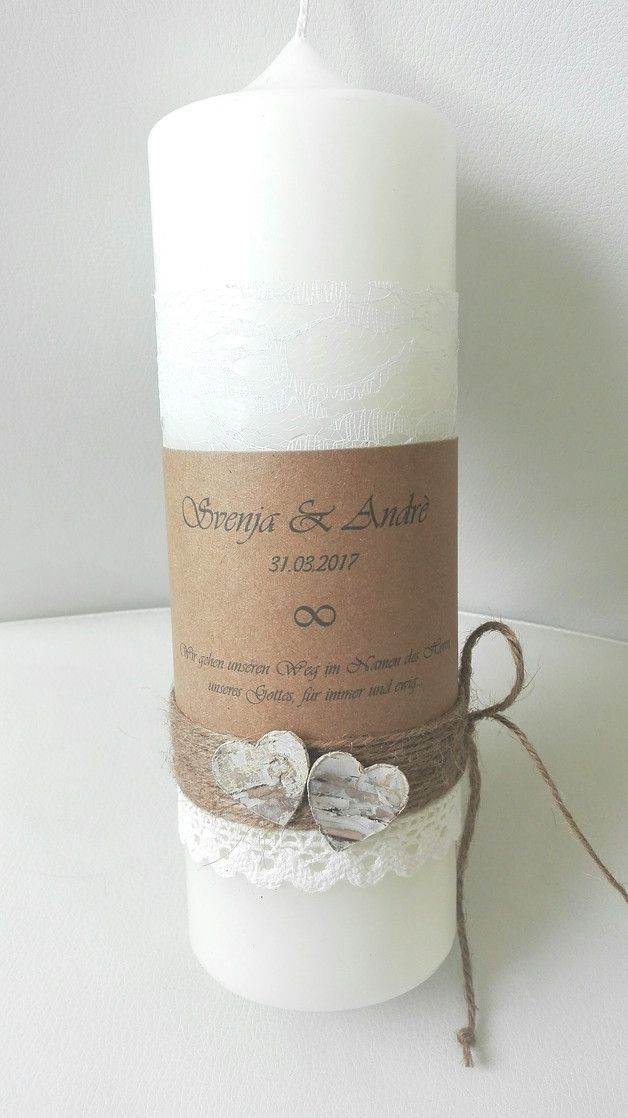 Modern Wedding Candle Vintage Rustic Cream 25x8 Cm Top With