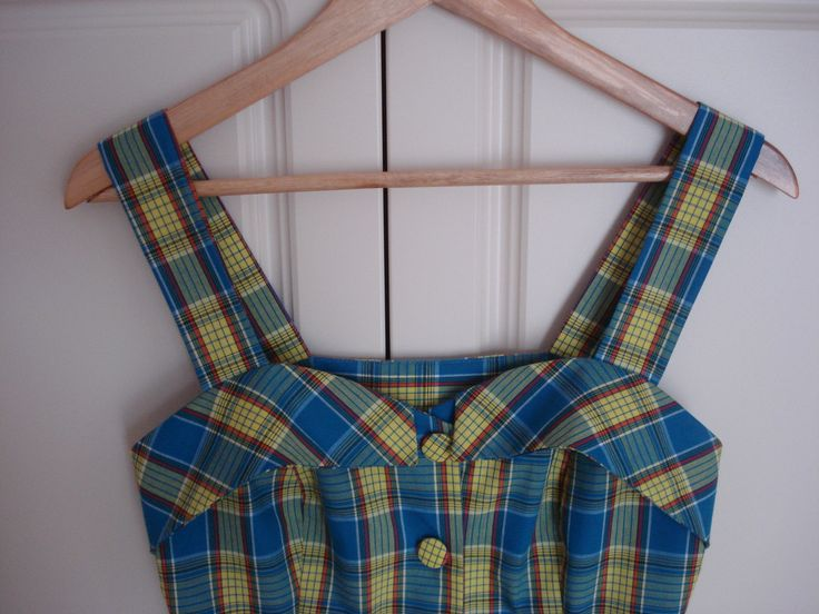 Summer checked dress designed by me. Inspired by 40's &50's style. Sewed by dressmaker.