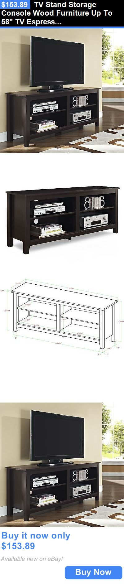 Entertainment Units TV Stands: Tv Stand Storage Console Wood Furniture Up To 58 Tv Espresso BUY IT NOW ONLY: $153.89
