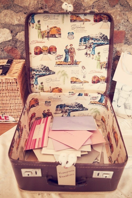 Such a creative way to collect cards. So much more innovative than just a giant box wrapped in the wedding colors. This suitcase also showcases the couple's personalities!