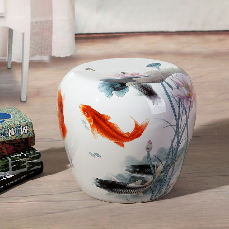 Small fish painting Jingdezhen porcelain Garden stool ceramic stool for dressing table drum chinese chinese porcelain stools