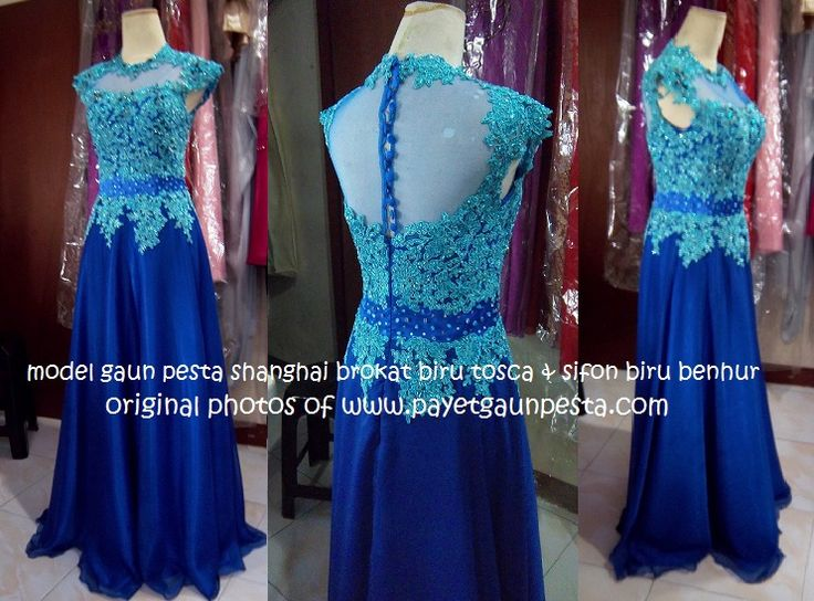 A beautiful brocade evening gown for the bride sister with cheongsam bodice silhouette in Turquoise Blue.
