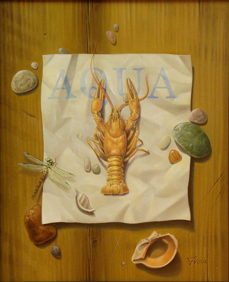 ,,Aqua''-oil on canvas-46x38cm Painting by artist Florentin Vesa