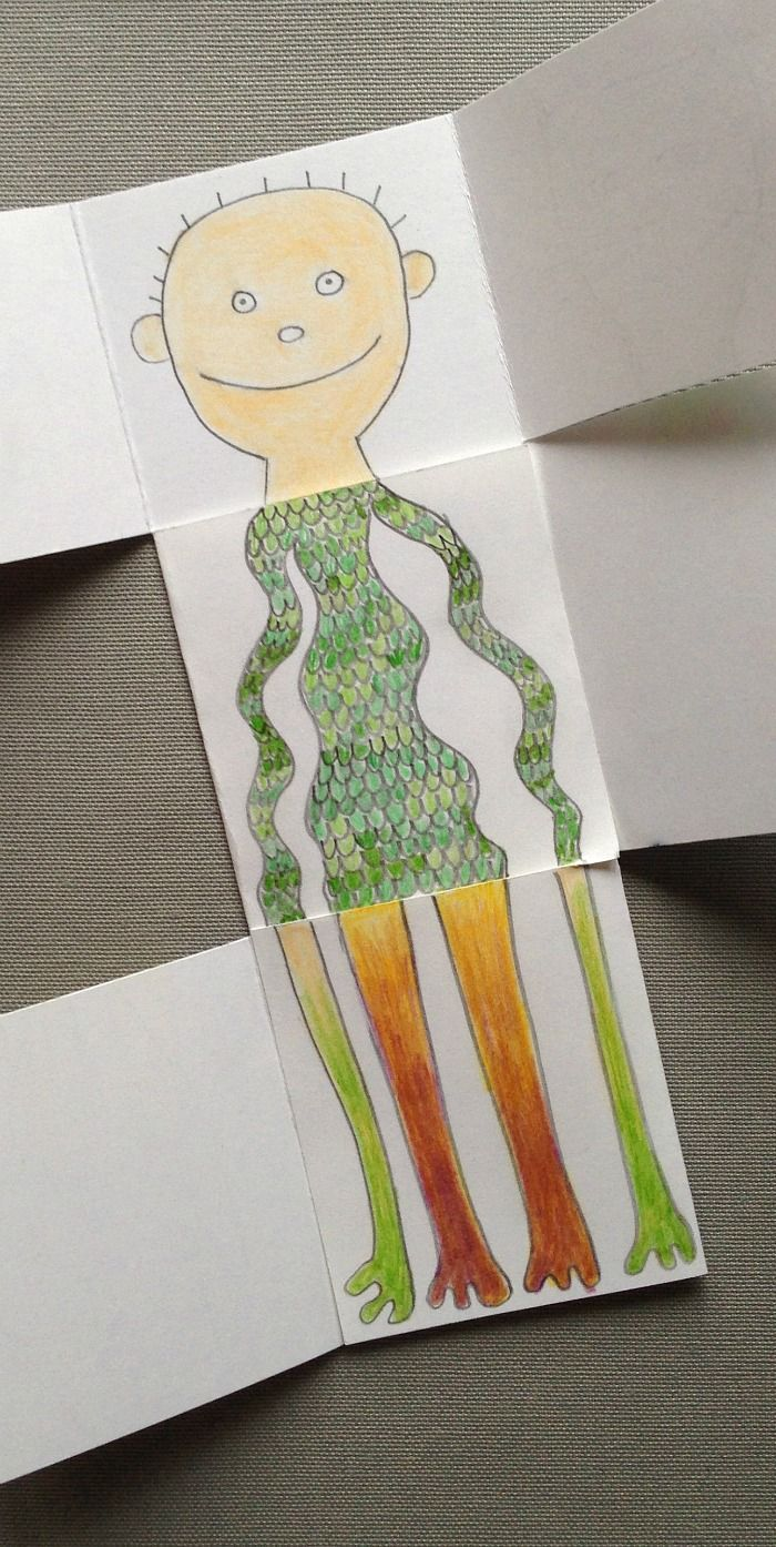 exquisite corpse drawing game for kids:
