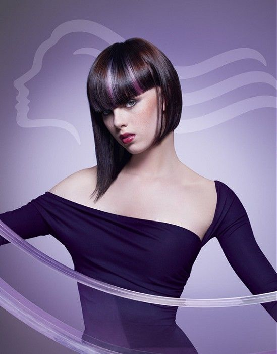 Slick a-line bob with beautiful blond and violet highlights by Wella Professional via ukhairdressers.com